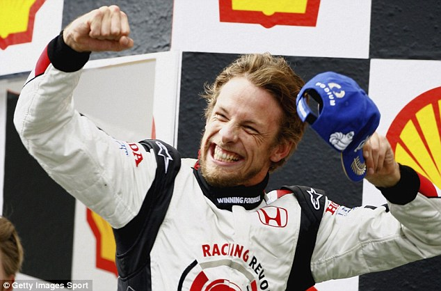 Success: Jenson Button celebrating victory at the 2006 Hungarian Grand Prix when he raced for Honda