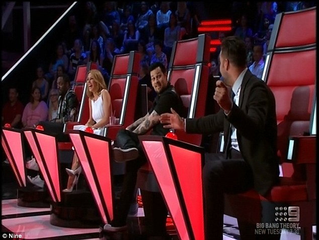 Captive audience: All four judges turned around for Jess, who eventually chose Ricky Martin as her mentor