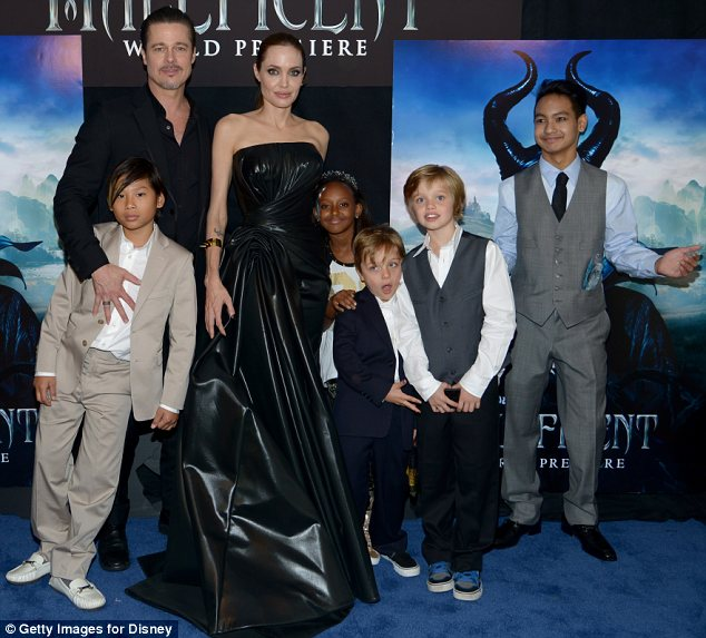 A family affair: Angelina was joined by Brad Pitt and five of their six children, (L-R) Pax, Zahara, Knox, Shiloh and Maddox