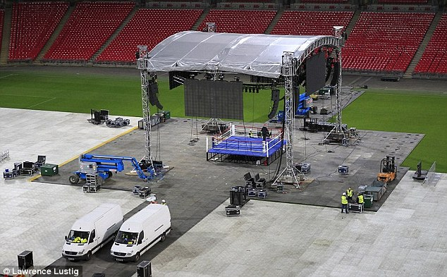 All change: The ring will be erected and seats will be arranged on the pitch immediately after the match