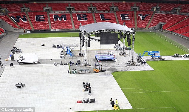 Hard work: Wembley will have to be prepared for the fight immediately after England play Peru on Friday