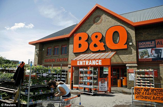 Sunnier times: B&Q was boosted as sales of outdoor seasonal goods and building products jumped almost a third higher than a year ago.