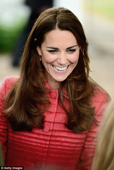 All smiles: The Duchess beams as she's introduced to villagers in Forteviot