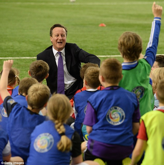 Favourites: The Prime Minister was quizzed by schoolchildren on his favourite players and who he thought would win the World Cup