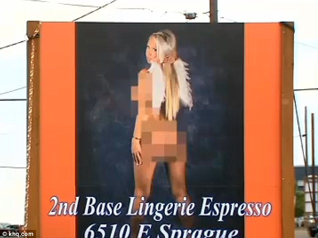 Controversy brewing: Some locals are outraged at this billboard for 2nd Base Lingerie Espresso which features a nude woman with wings on a Washington state highway