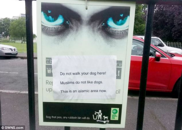 An MP complained after a sign posted near a park warned dog-walkers to stay out of 'Islamic areas'