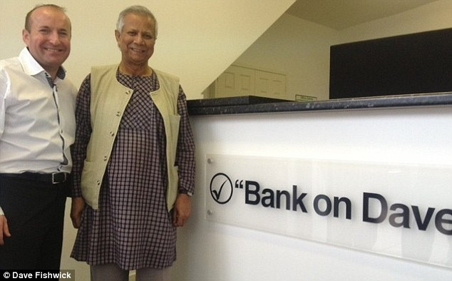 Famous visitor: Professor Yunus, a Nobel Peace Prize winner, popped in as he is a massive fan of Dave and the bank