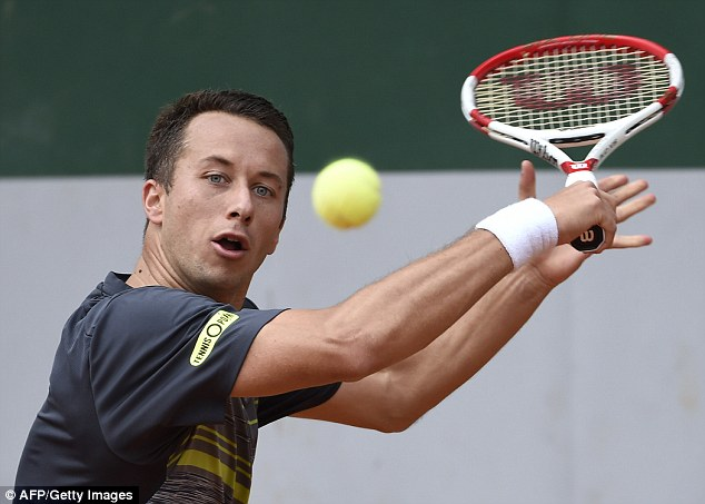 Eye on the ball: Germany's Philipp Kohlschreiber is Murray's next opponent on Saturday