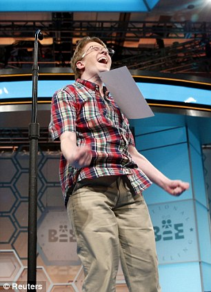 Finalist: Jacob Williamson of Cape Coral, Florida, reacts to spelling a word correctly during the final of the 87th Annual Scripps National Spelling Bee