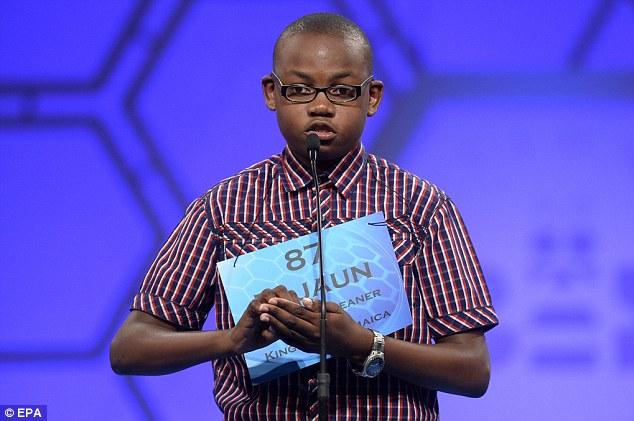 Spell it out: Tajaun Gibbison of Jamaica attempts to spell 'charcuterie' during the finals of the Scripps National Spelling Bee