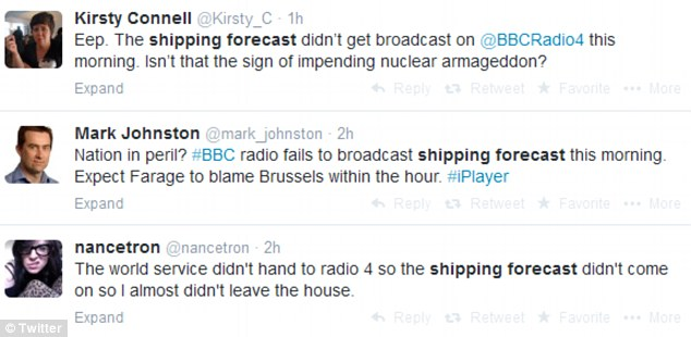 'Nation in peril?' Listeners quickly took to Twitter to express their bewilderment at the mix-up