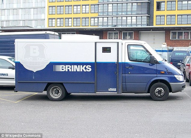 Windfall: The pile of deposit money tumbled off a Brinks vehicle (similar to the one pictured)
