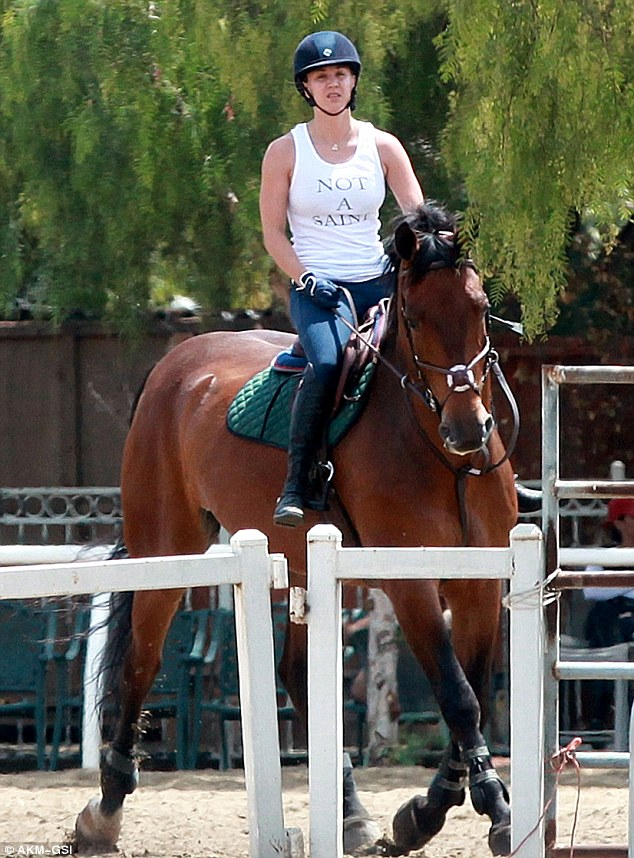 Animal lover: Kaley Cuoco, 28, took some time out of her busy schedule on Thursday to go riding at a ranch in Simi Valley, California