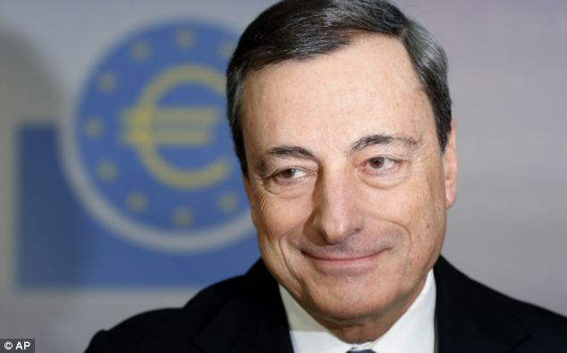 In the spotlight: Dramatic moves are expected from the European Central Bank at next week's policy meeting - after Mario Draghi suggested it was minded to do something in June.