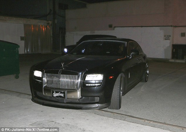 Travelling in style: Justin attended a late-night recording session and arrived in a sleek Rolls Royce