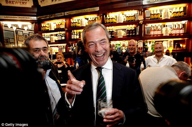 Popular: According to a study by ComRes, part of Ukip's appeal during the European elections was the complaint by its leader Nigel Farage (pictured) that Britain had ceded control of its borders to Europe
