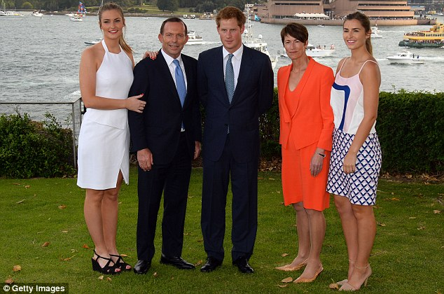 Prince Harry spent time with the Prime Minister (second from left) and his family at Kirribilli House
