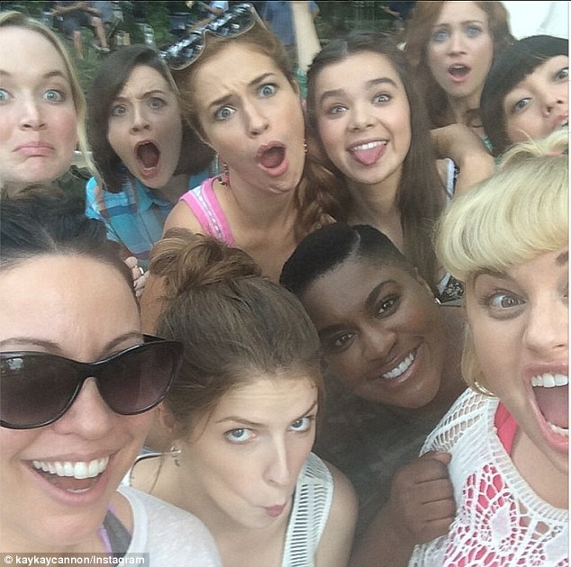 Reunited: Screenplay writer Kay Cannon shared a selfie on Instagram with the cast of Pitch Perfect 2 including stars Anna Kendrick, Rebel Wilson, and the rest of the group known as The Barden Bellas