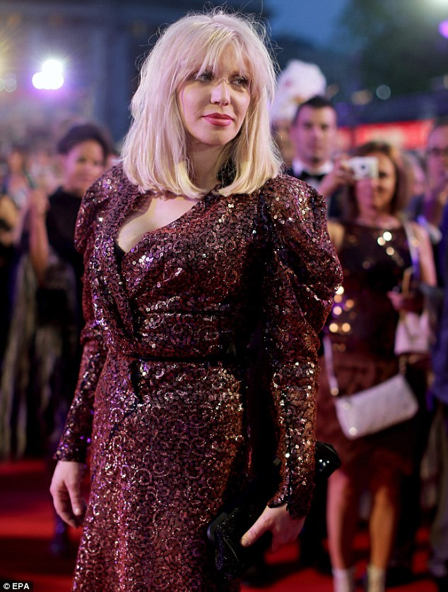 Nothing but Love: Rocker Courtney arrives in an eighties themed sequined dress