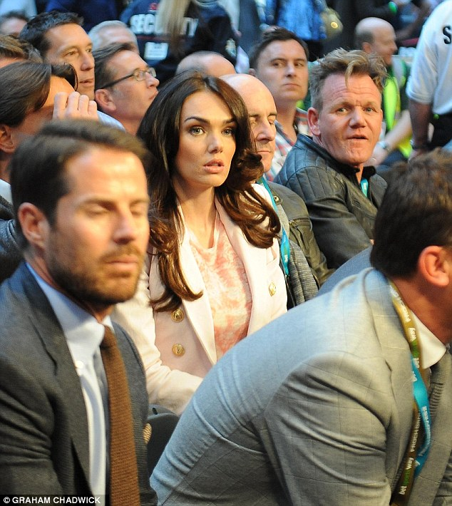 Good company: Tamara Ecclestone attended the match with husband Jay Rutland while Gordon Ramsay and Jamie Redknapp were close by