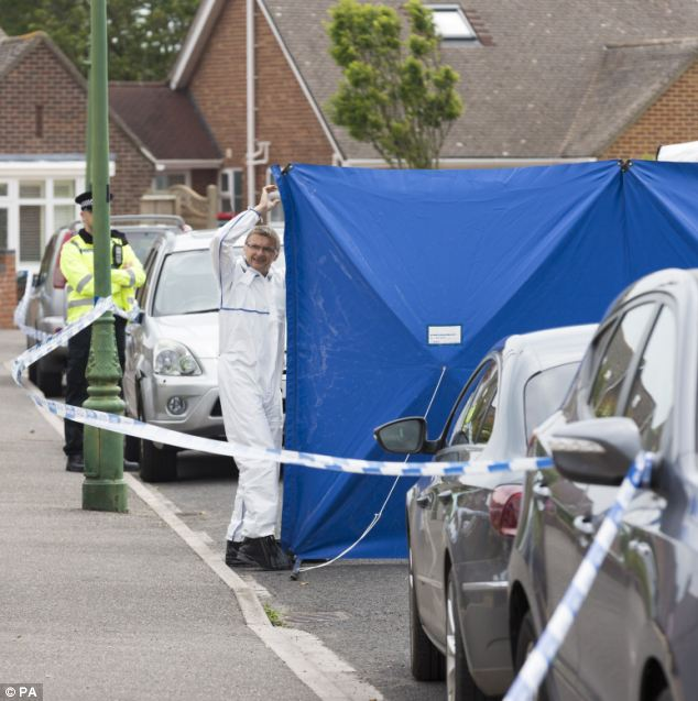 Cover: A forensic officer walks next to a screen on Verwood Crescent in Bournemouth