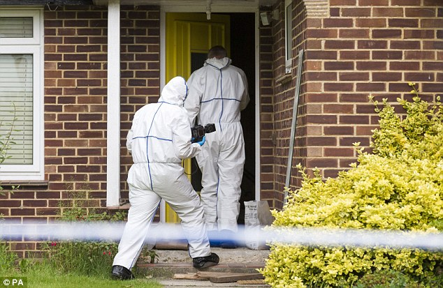 Probe: Forensics officers enter the home of missing nurse Rui Li, in Burnham Drive in Bournemouth