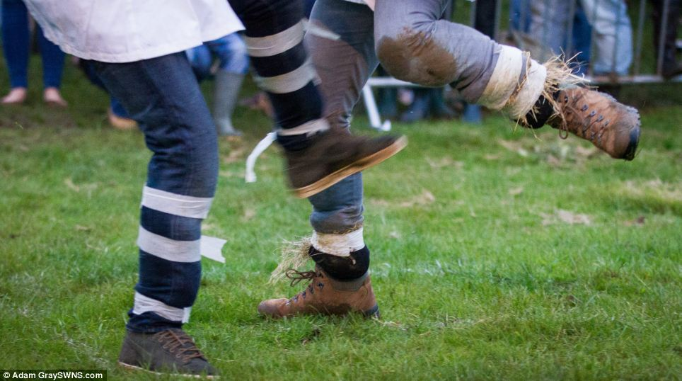 People taking part are not allowed to wear steel toe cap boots and must wear a traditional white smock