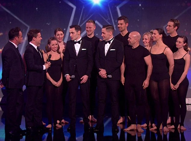 Combined work: Richard & Adam sang while Attraction showed off their moves in a BGT guest spot
