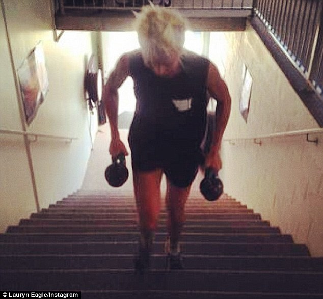 High intensity training! On Friday Lauryn was seen putting in the hard yards, climbing a set of stairs holding a pair of weighted kettlebells