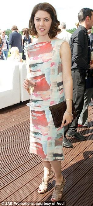 Stylish actress Catherine Steadman wears a multi-coloured slash necked dress