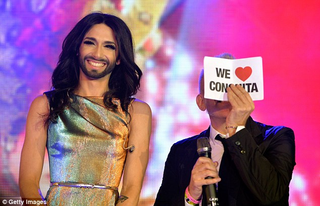 We love you: Conchita and Jean Paul have some fun onstage