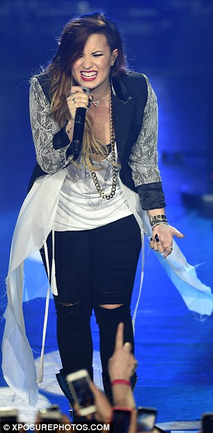 Double Demi: The singer wore this flowing outfit for her final gig in London