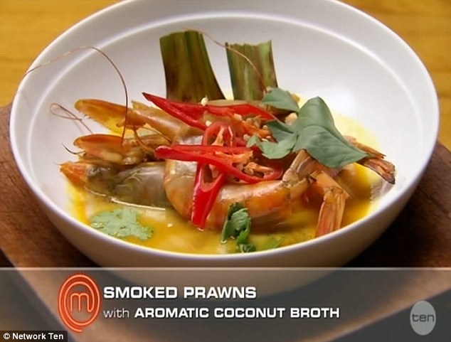 Thai dish: The Victorian contestant served up smoked prawns with aromatic coconut broth