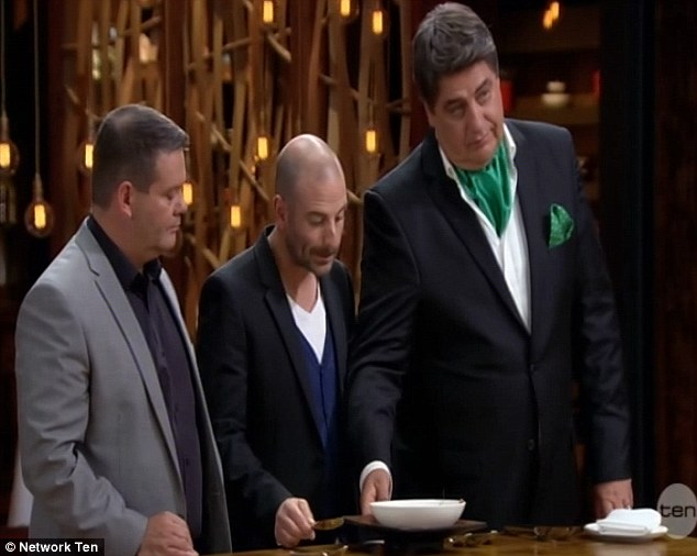 Not impressed: Matt Peston and the other two judges gave Fennerty's meal a go, admitted that it was presented well