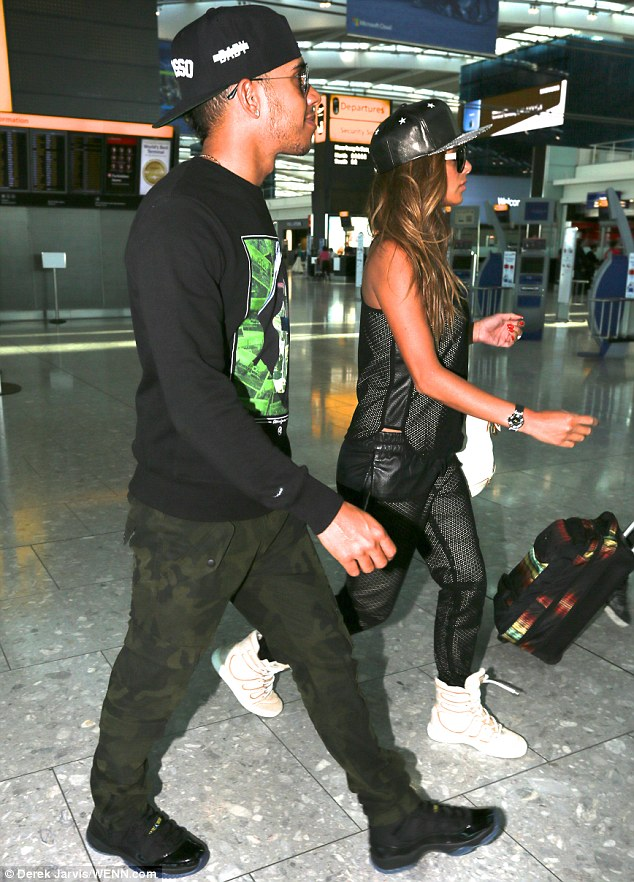 In time: The couple - who first began dating in 2006 - didn't appear to have much luggage with them
