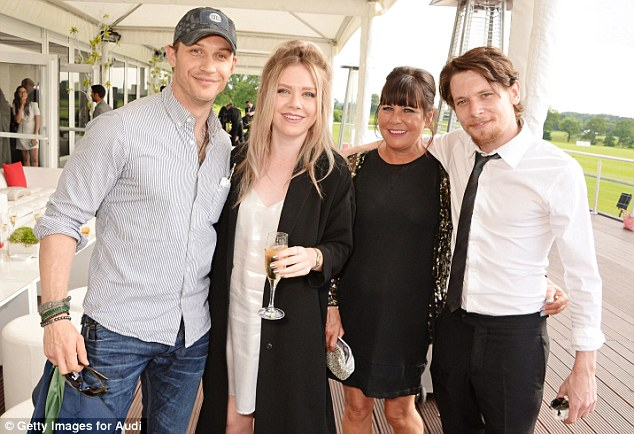 Family outing: Jack brings his mother Alison and sister Megan to the polo and they hang out with Tom Hardy