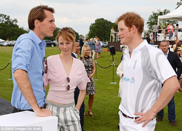 Good chat: Model Edie Campbell and Otis Ferry chat to Prince Harry at Coworth Park Polo Club