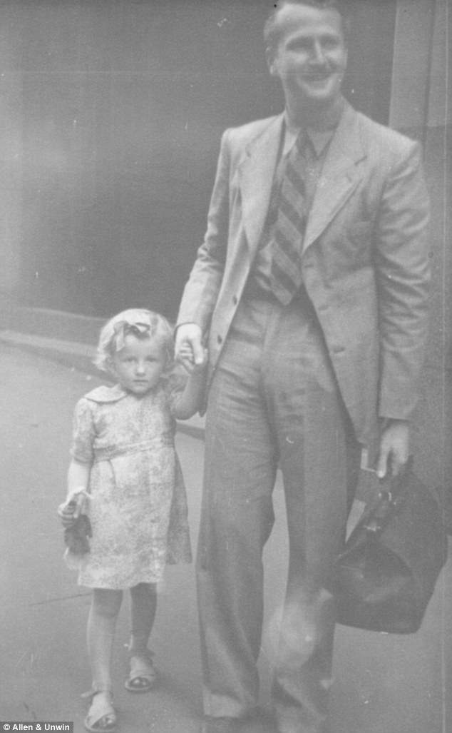 Ms Ward, aged about four, pictured with her father in a photo taken by a street photographer