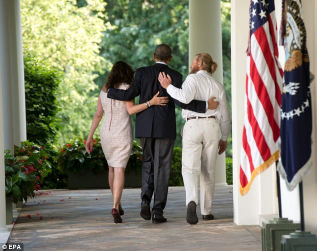 Anger: Andy Andrews added that he was against the deal Obama (pictured with Bergdahl's parents at the White House this weekend) made to bring the prisoner home. He said: 'I have a long history with the military and it¿s not done. You don¿t negotiate with the enemy'