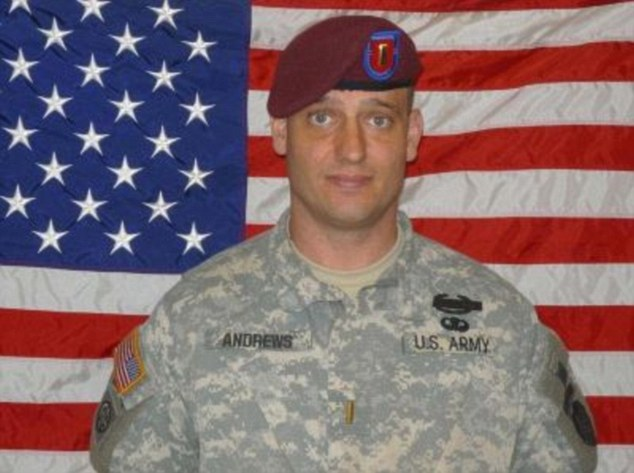 Hero: Second Lieutenant Darryn Andrews died in a Taliban ambush on Sept 4, 2009, after he tried to save colleagues who had been injured in an IED explosion. Top brass had told his parents that he died searching a Taliban commander. Now former comrades have come forward to say they were really looking for Bergdahl