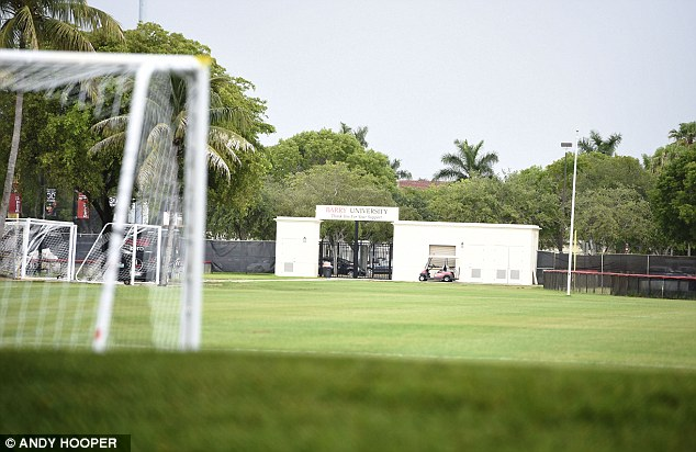 Out of service: England players training indoors instead of the specially prepared pitch in Florida