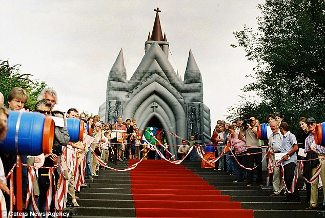Red carpet treatment: From a distance it is almost impossible to tell that the church is not made of stone