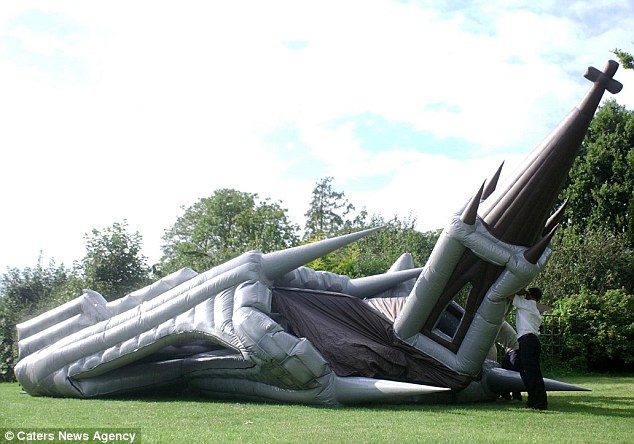Perfect for a shotgun wedding: The church is easily and swiftly assembled - fully inflated and ready for action within two hours - and then taken down in 30 minutes