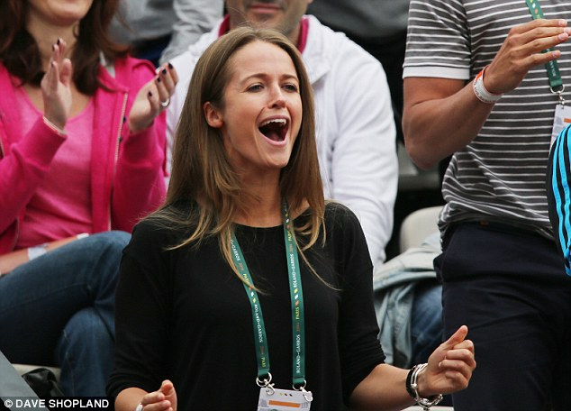 Relief: Murray's girlfriend Kim Sears celebrates as her man qualifies for the fourth round