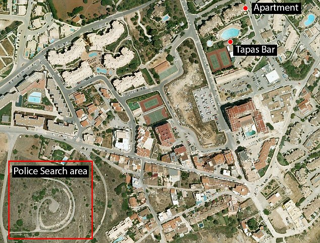 Map: The search site is 300 metres from the apartment at the Ocean Club resort in Praia da Luz and the tapas bar her parents were dining at and close to where a suspect was seen with a girl in his arms on the night she was abducted in May 2007