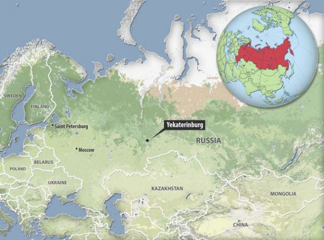 The train, travelling from Moscow, was stopped at Yekaterinburg, 870 miles east of Moscow