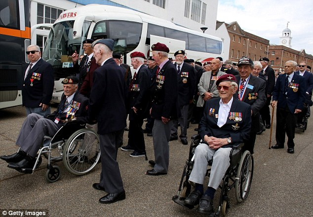 Normandy Veterans leave a ceremony at Portsmouth Historic Dockyard ahead of embarking tomorrow for France