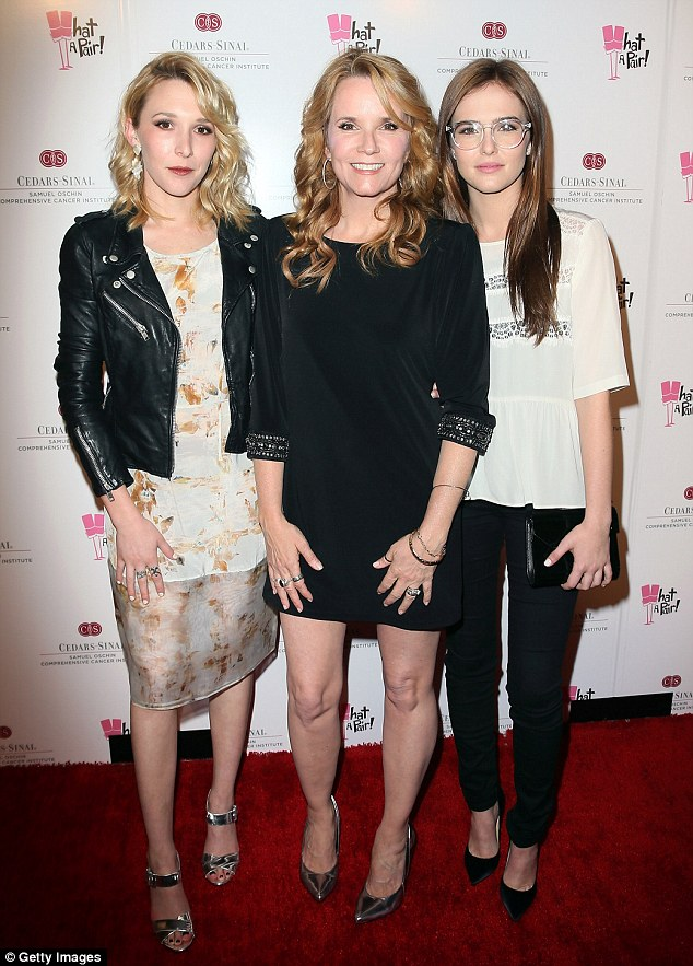 Spot the difference: Lea Thompson was joined by her daughters (L-R) Maddie and Zoey Deutch at the 10th anniversary What A Pair! benefit concert in Beverly Hills, California, on Saturday