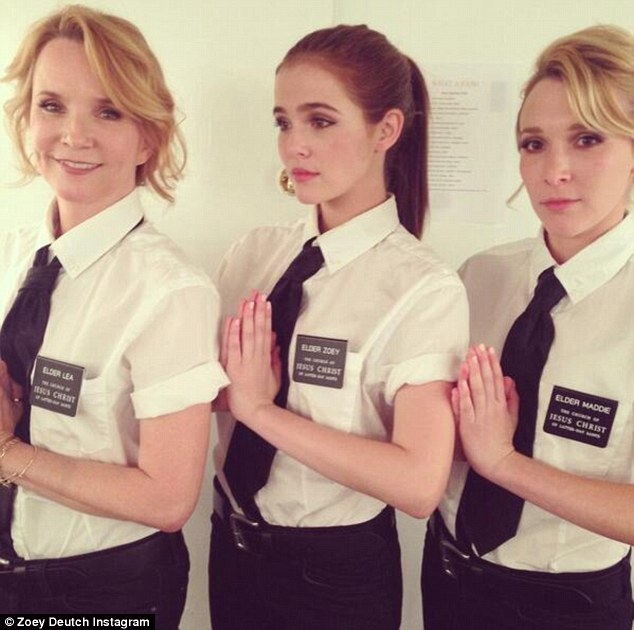 Seriously skilled: Following in the Back To The Future star's footsteps, both girls are actors with Zoey (centre) recently starring in Vampire Academy