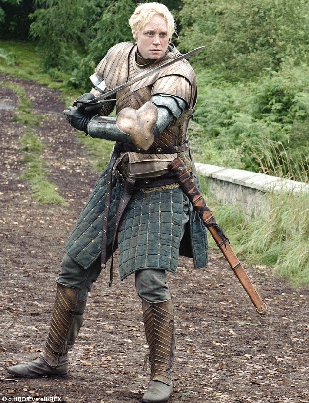 No stranger to battle: As Game Of Thrones' Brienne Of Tarth, Gwendoline Christie regularly appears in heavy armour